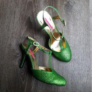 Bordello Glitter Rhinestone Buckle T Strap Heels